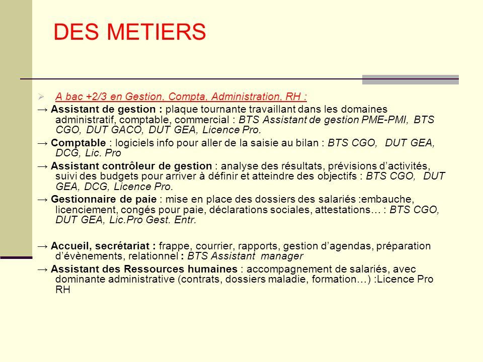 DES METIERS A bac +2/3 en Gestion, Compta, Administration, RH :