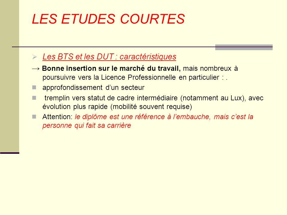 LES ETUDES COURTES Les BTS et les DUT : caractéristiques