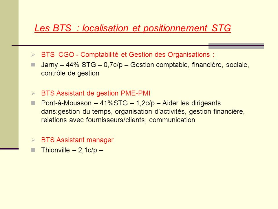 Les BTS : localisation et positionnement STG