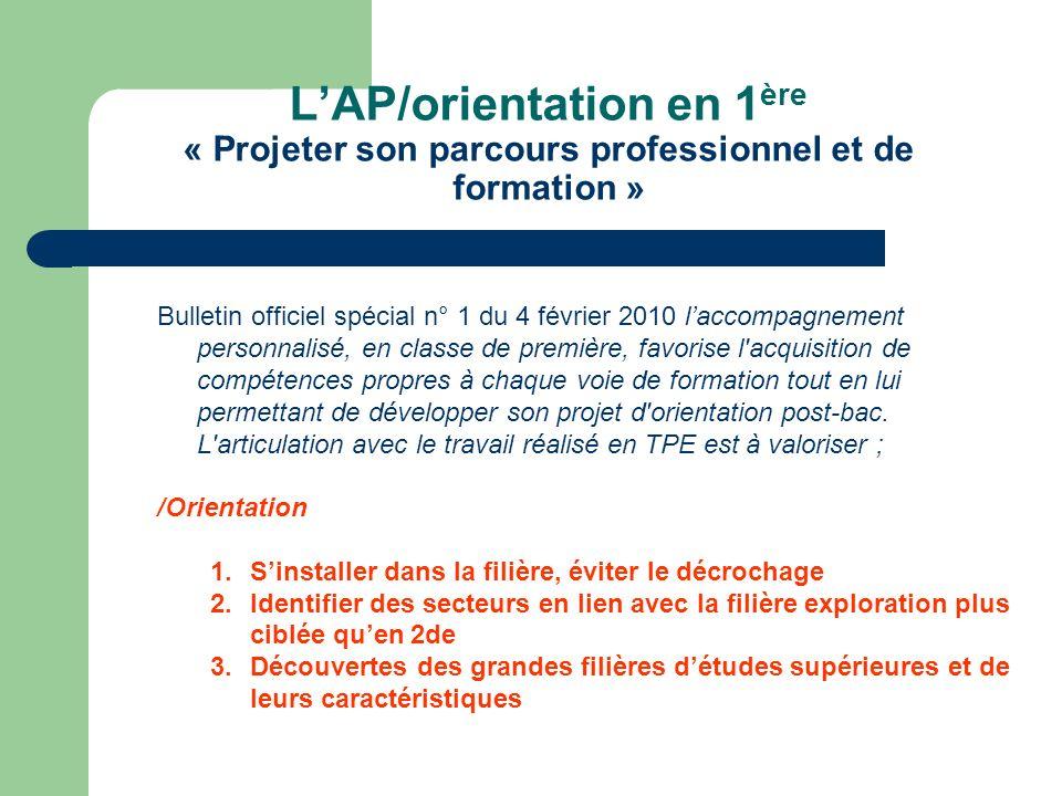 L'AP/orientation en 1ère « Projeter son parcours professionnel et de formation »