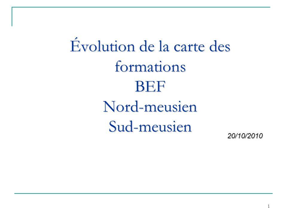 Évolution de la carte des formations BEF Nord-meusien Sud-meusien
