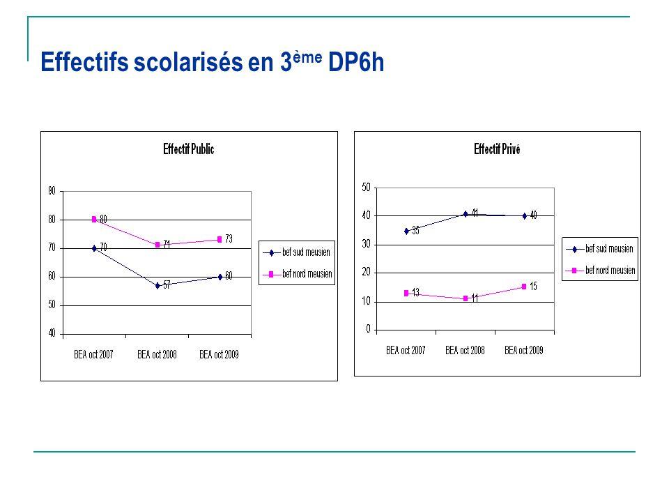 Effectifs scolarisés en 3ème DP6h