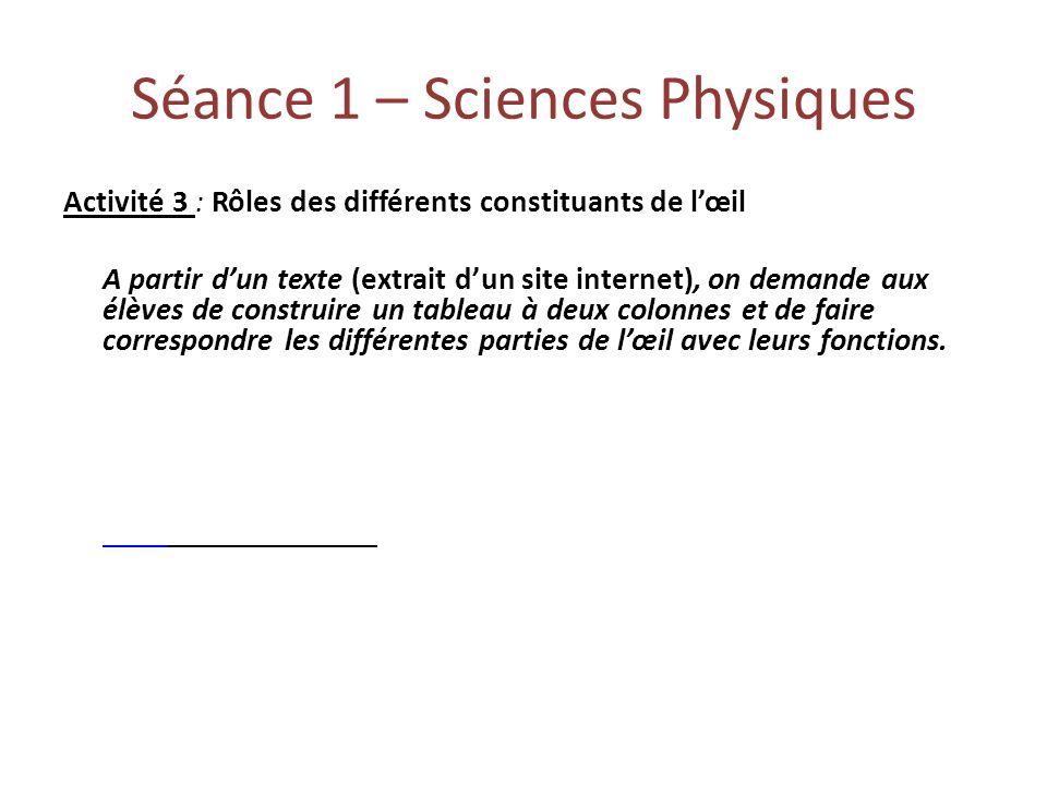 Séance 1 – Sciences Physiques