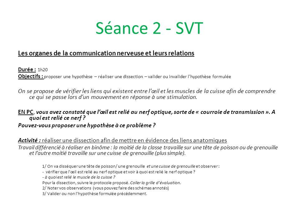 Séance 2 - SVTLes organes de la communication nerveuse et leurs relations. Durée : 1h20.