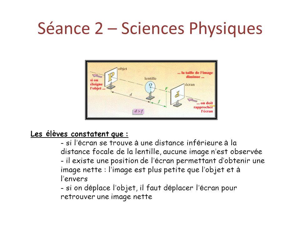 Séance 2 – Sciences Physiques