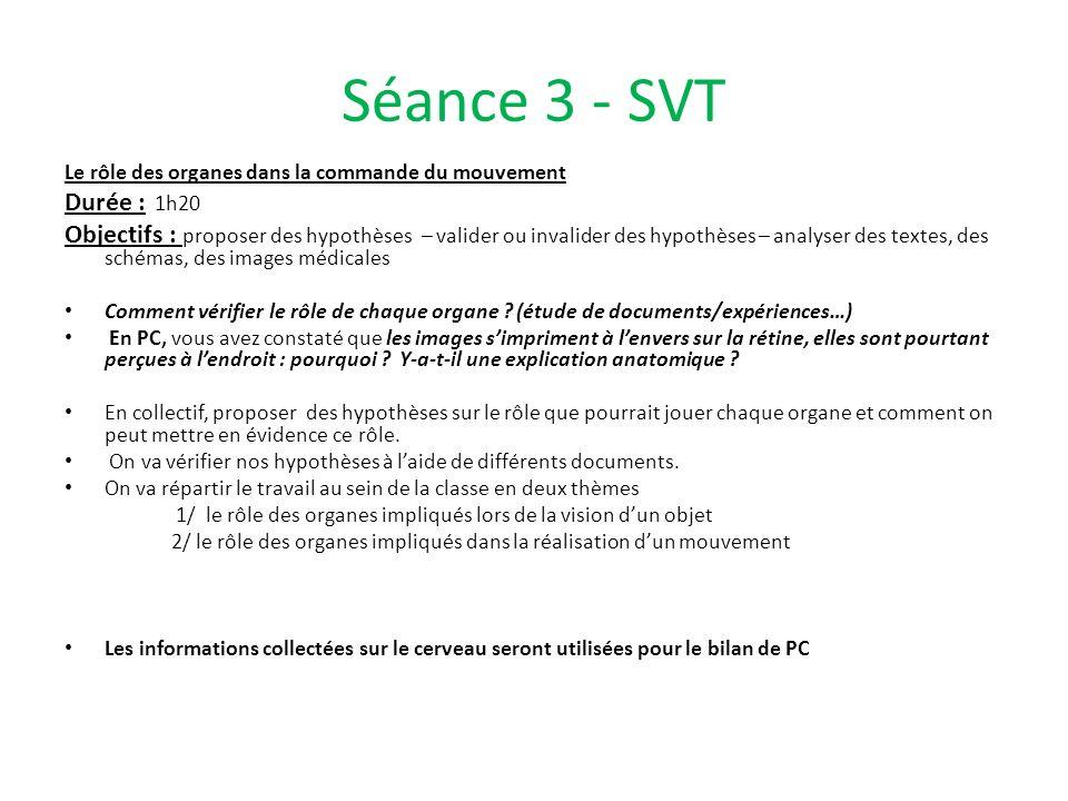 Séance 3 - SVT Le rôle des organes dans la commande du mouvement. Durée : 1h20.