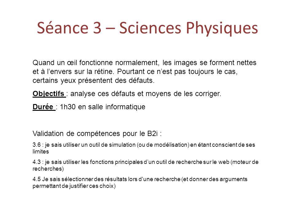 Séance 3 – Sciences Physiques