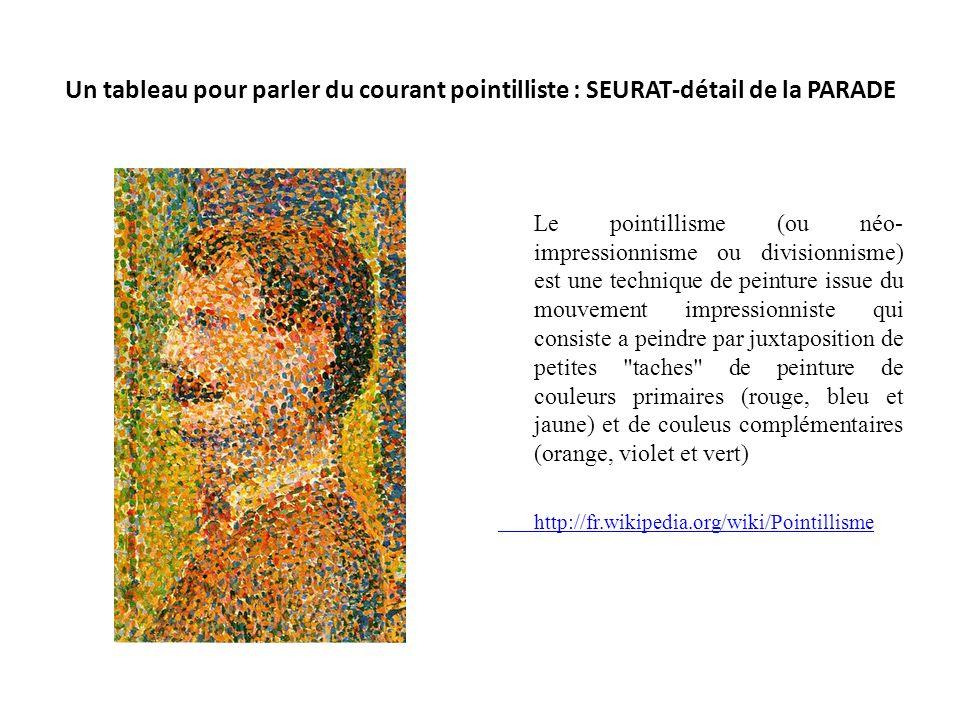 Un tableau pour parler du courant pointilliste : SEURAT-détail de la PARADE
