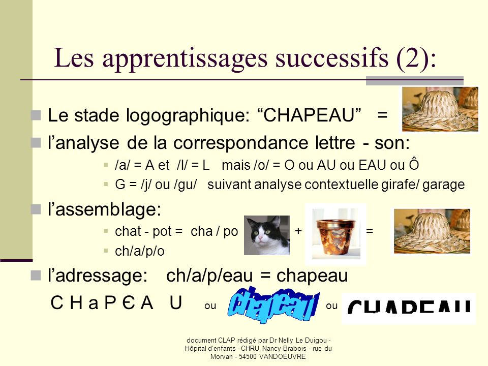 Les apprentissages successifs (2):