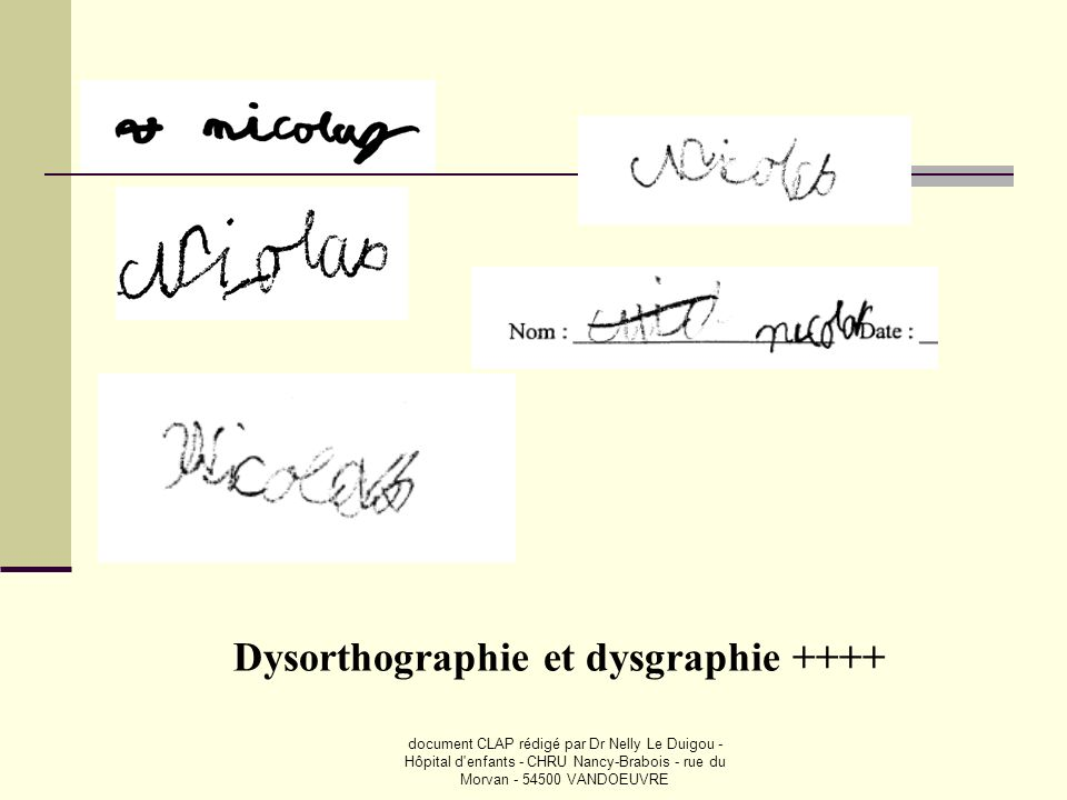 Dysorthographie et dysgraphie ++++