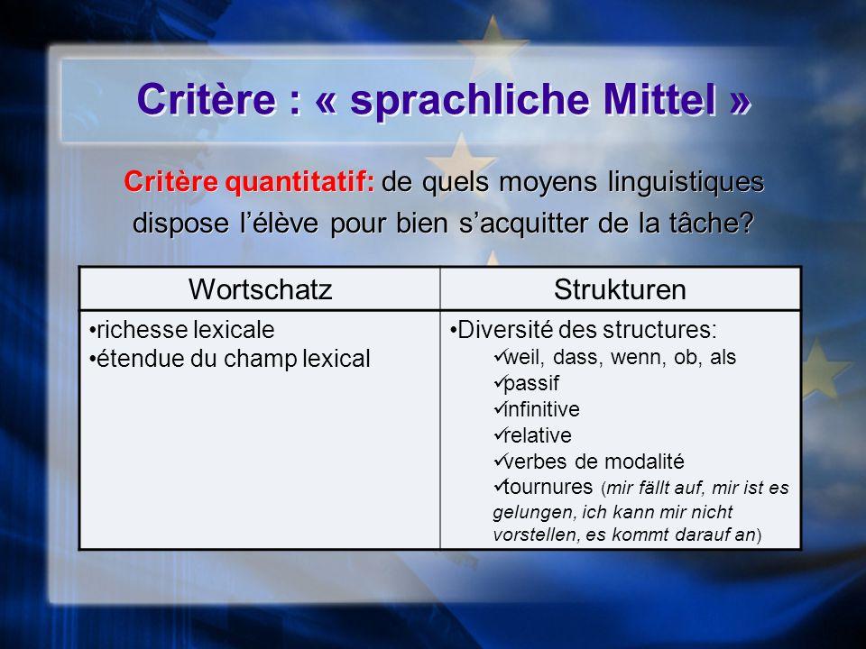 Critère : « sprachliche Mittel »
