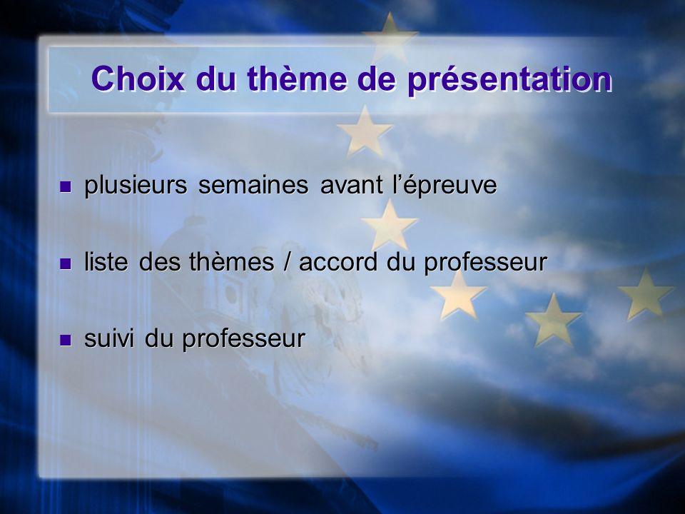 Choix du thème de présentation