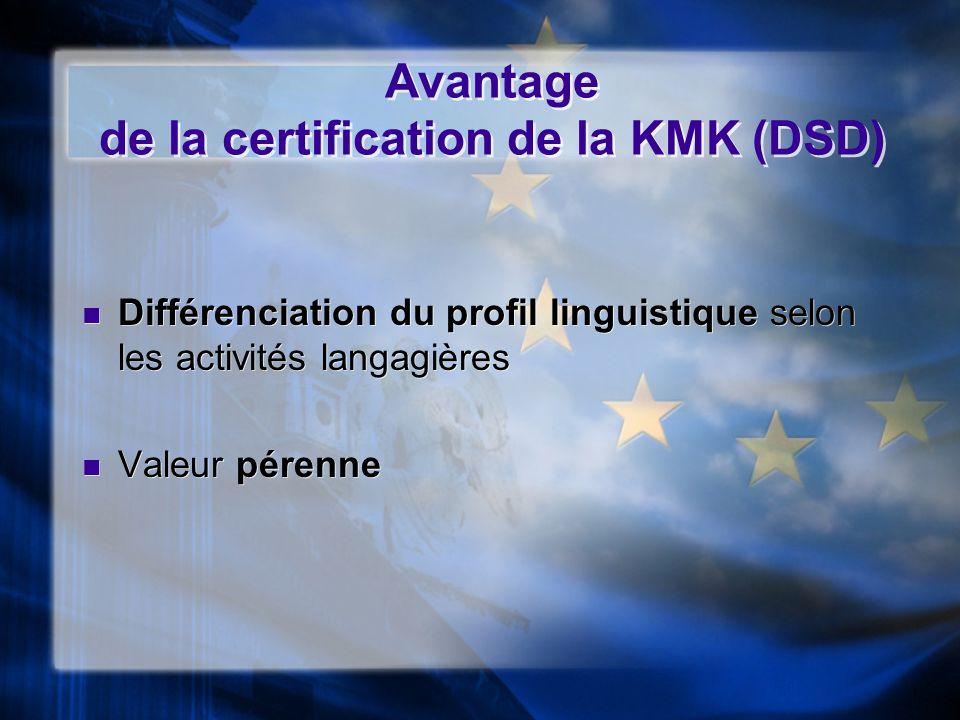 Avantage de la certification de la KMK (DSD)