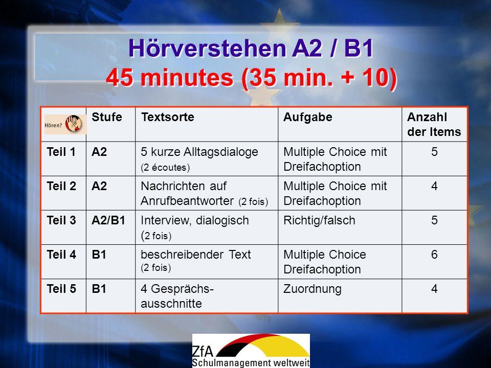 Hörverstehen A2 / B1 45 minutes (35 min. + 10)