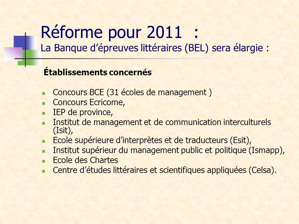 Réforme pour 2011 : La Banque d'épreuves littéraires (BEL) sera élargie :