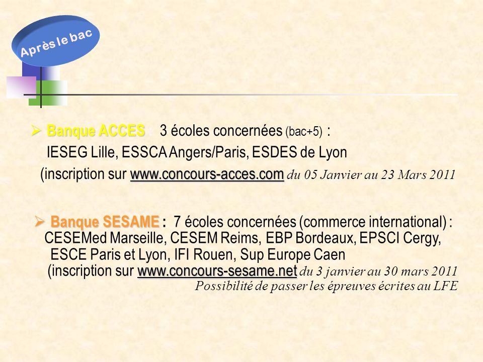 Banque ACCES : 3 écoles concernées (bac+5) :
