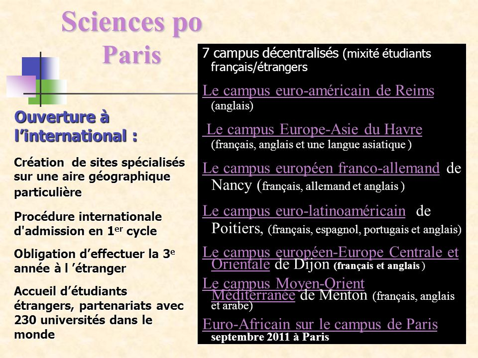 Sciences po Paris Le campus euro-américain de Reims (anglais)