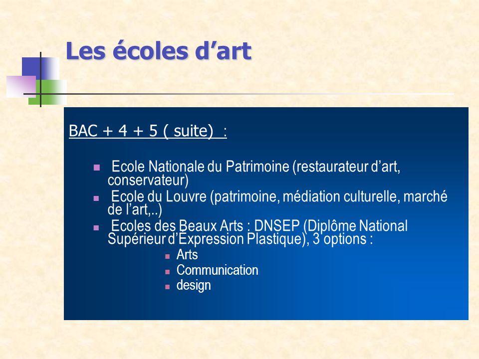 Les écoles d'artBAC + 4 + 5 ( suite) : Ecole Nationale du Patrimoine (restaurateur d'art, conservateur)