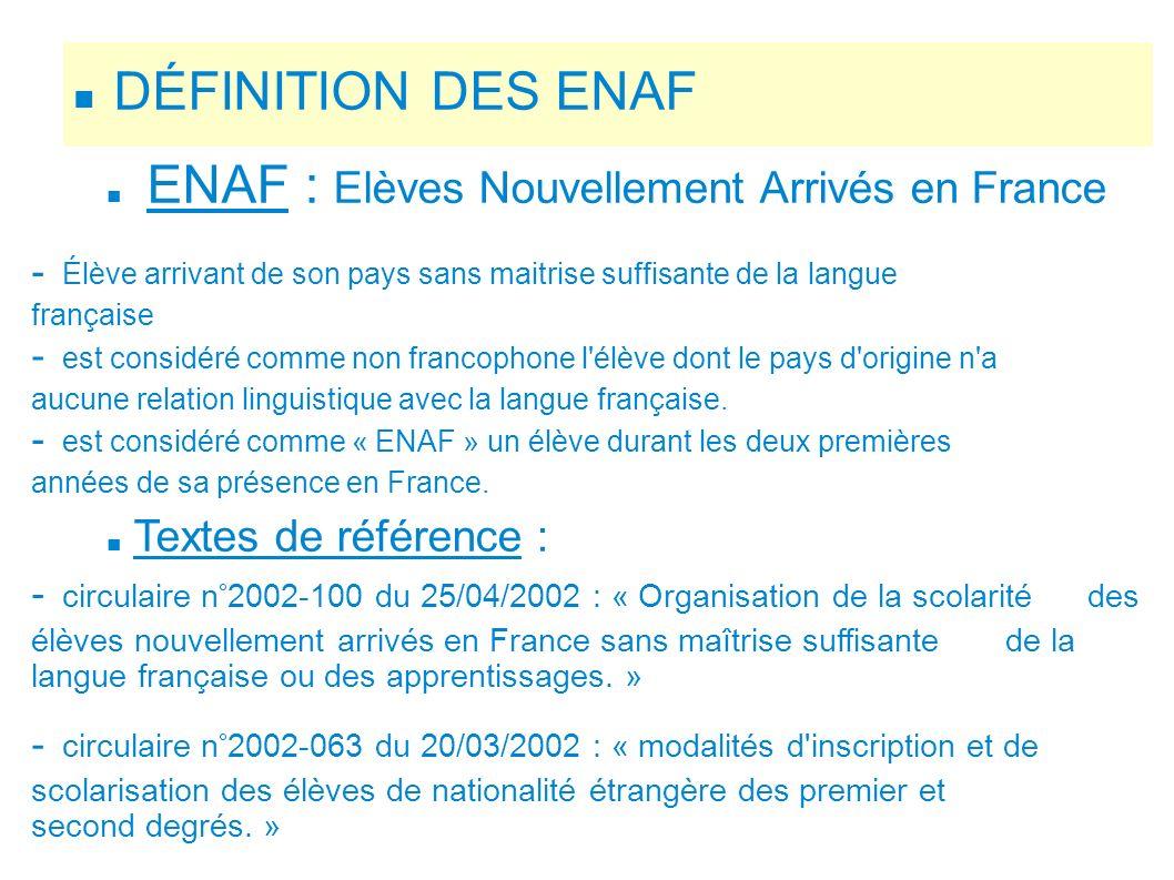 DÉFINITION DES ENAF ENAF : Elèves Nouvellement Arrivés en France
