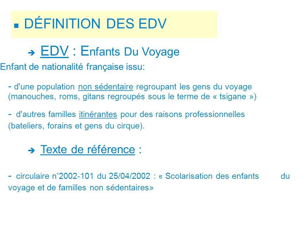 DÉFINITION DES EDV EDV : Enfants Du Voyage Texte de référence :