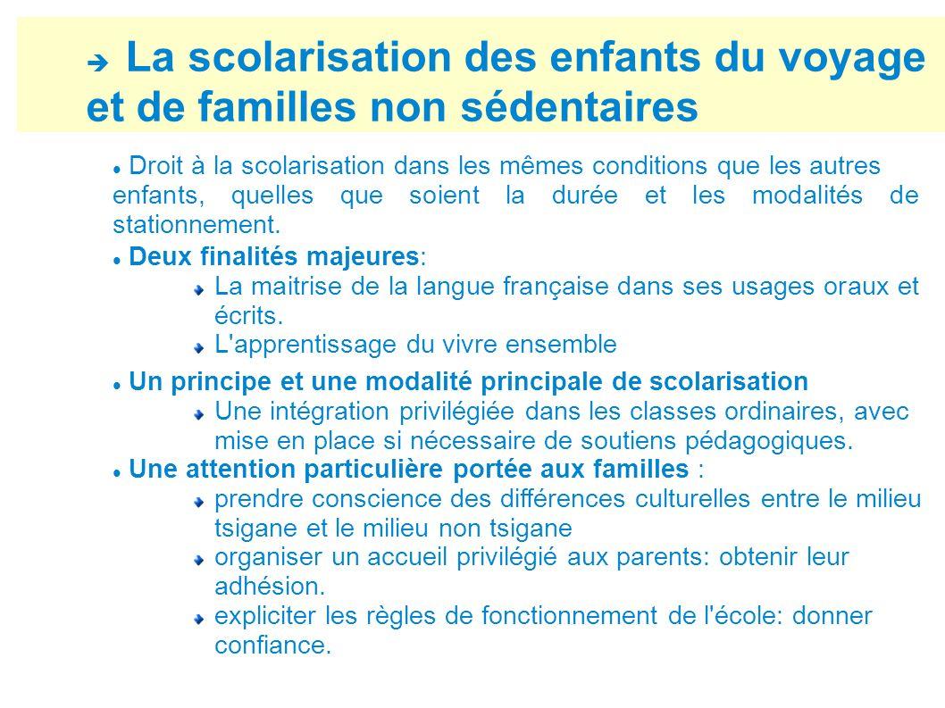 La scolarisation des enfants du voyage et de familles non sédentaires