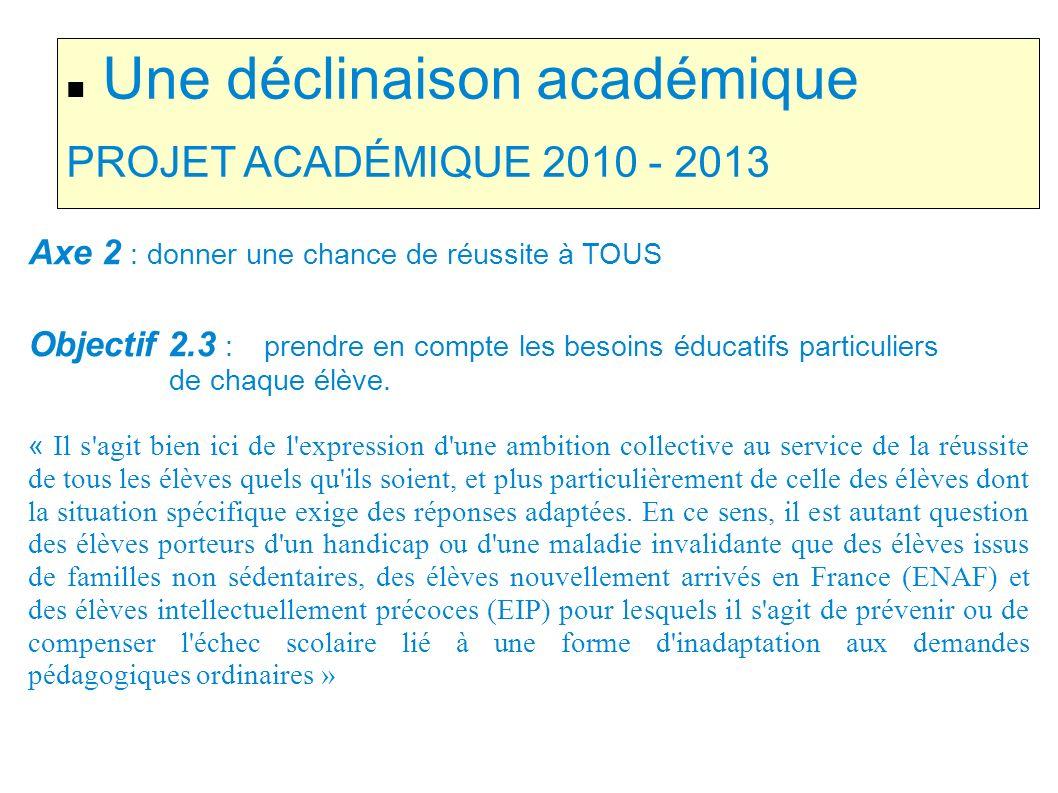 Une déclinaison académique