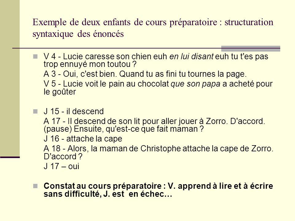 Exemple de deux enfants de cours préparatoire : structuration syntaxique des énoncés