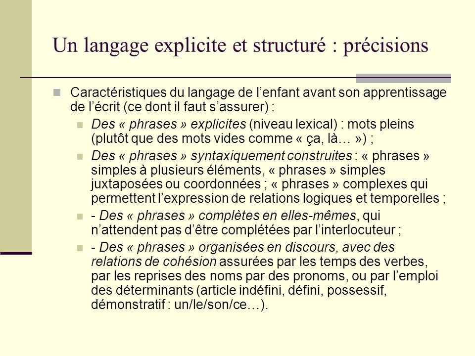 Un langage explicite et structuré : précisions
