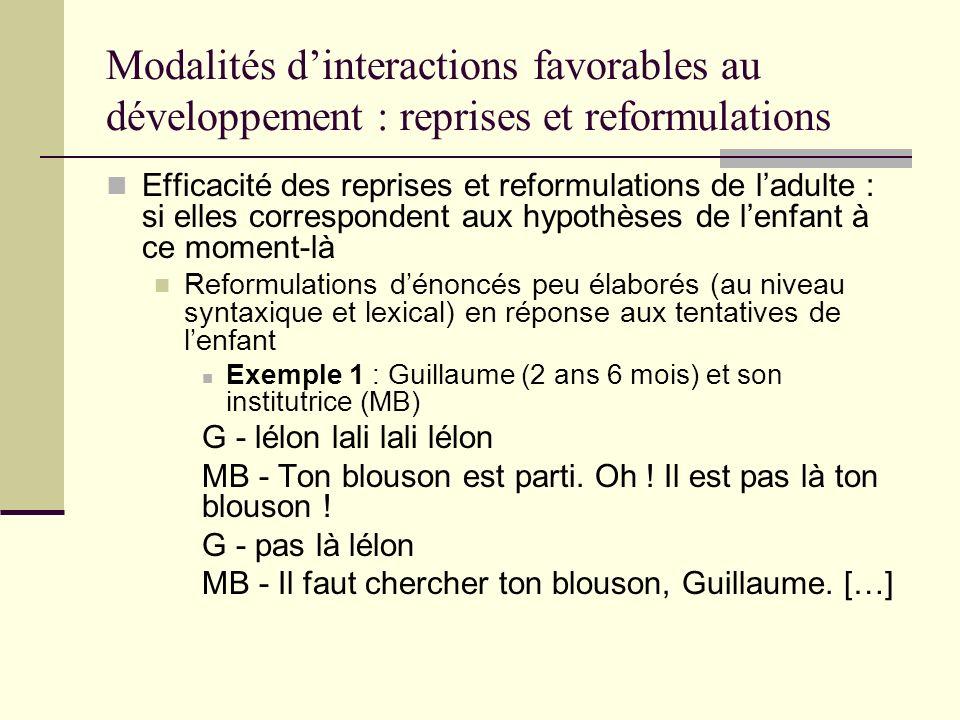 Modalités d'interactions favorables au développement : reprises et reformulations