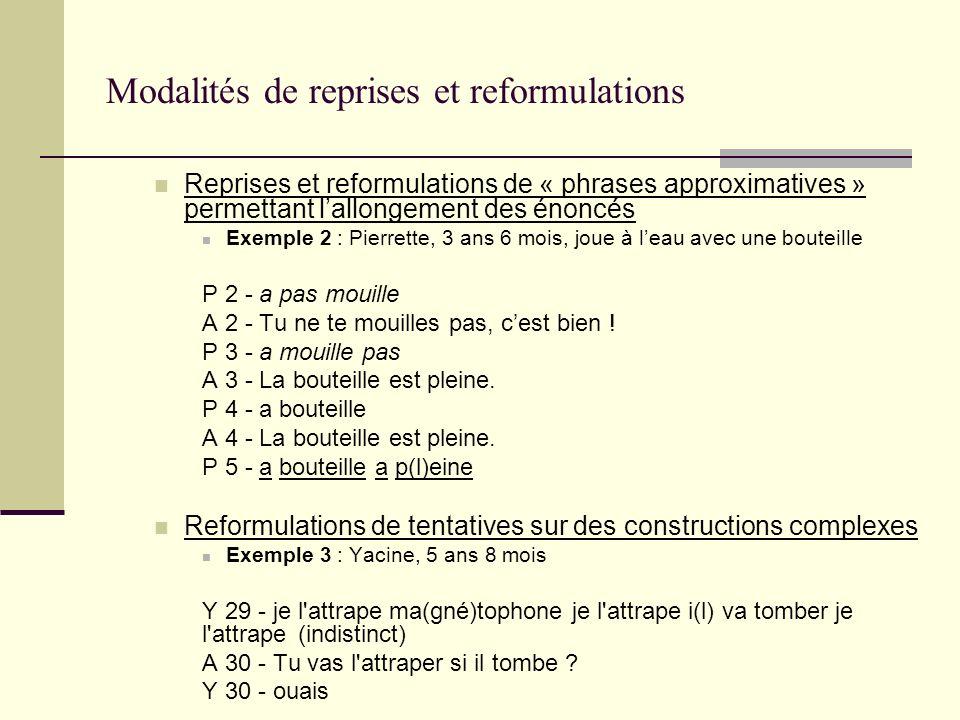 Modalités de reprises et reformulations