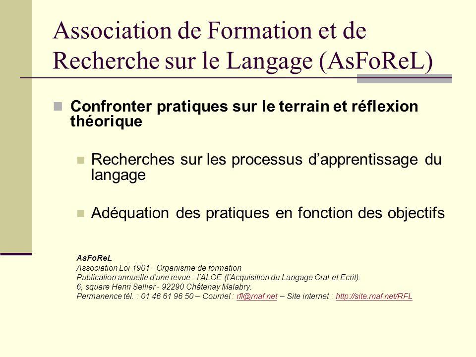 Association de Formation et de Recherche sur le Langage (AsFoReL)