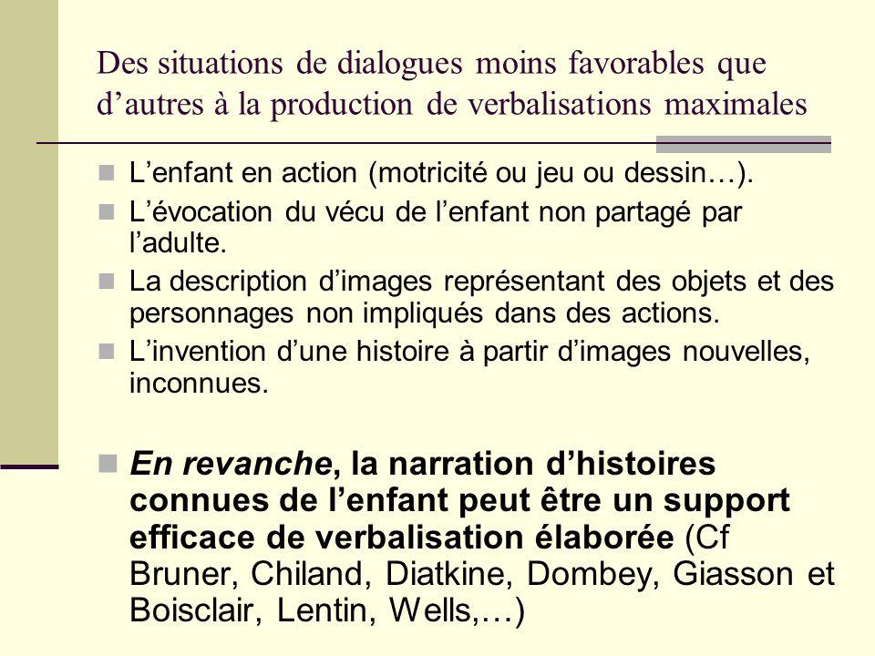 Des situations de dialogues moins favorables que d'autres à la production de verbalisations maximales