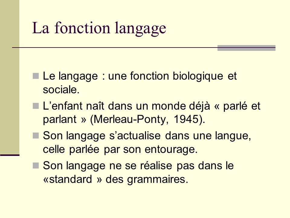 La fonction langage Le langage : une fonction biologique et sociale.