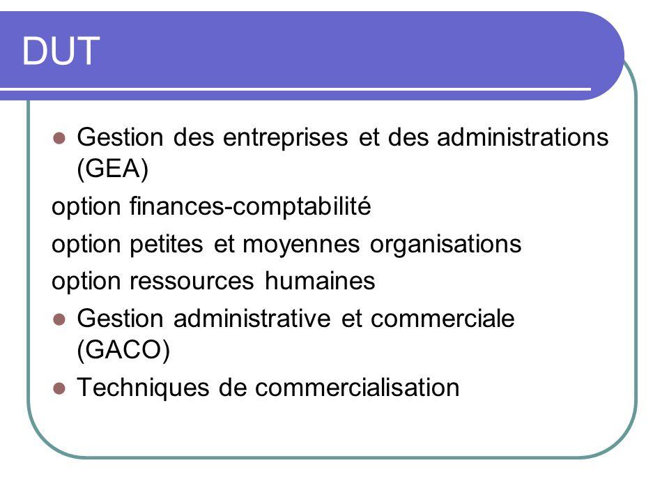 DUT Gestion des entreprises et des administrations (GEA)