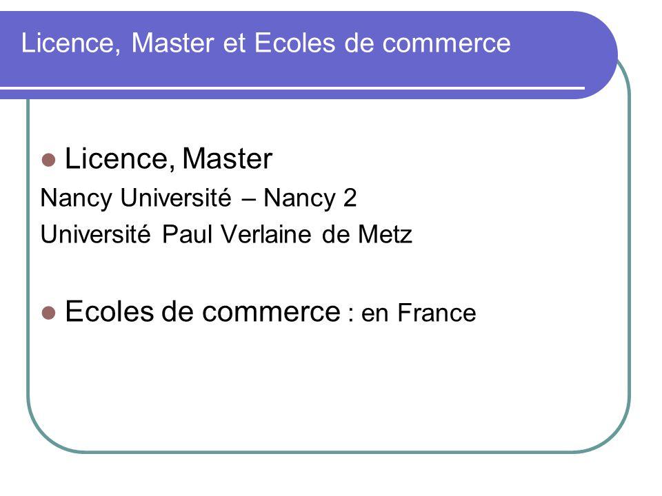 Licence, Master et Ecoles de commerce