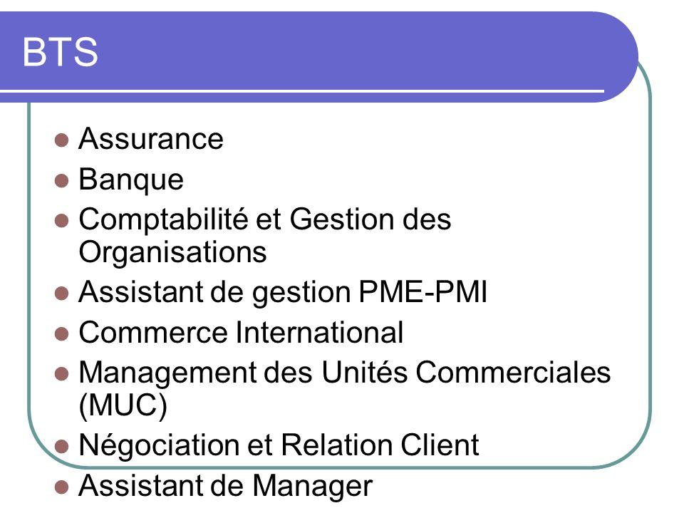 BTS Assurance Banque Comptabilité et Gestion des Organisations