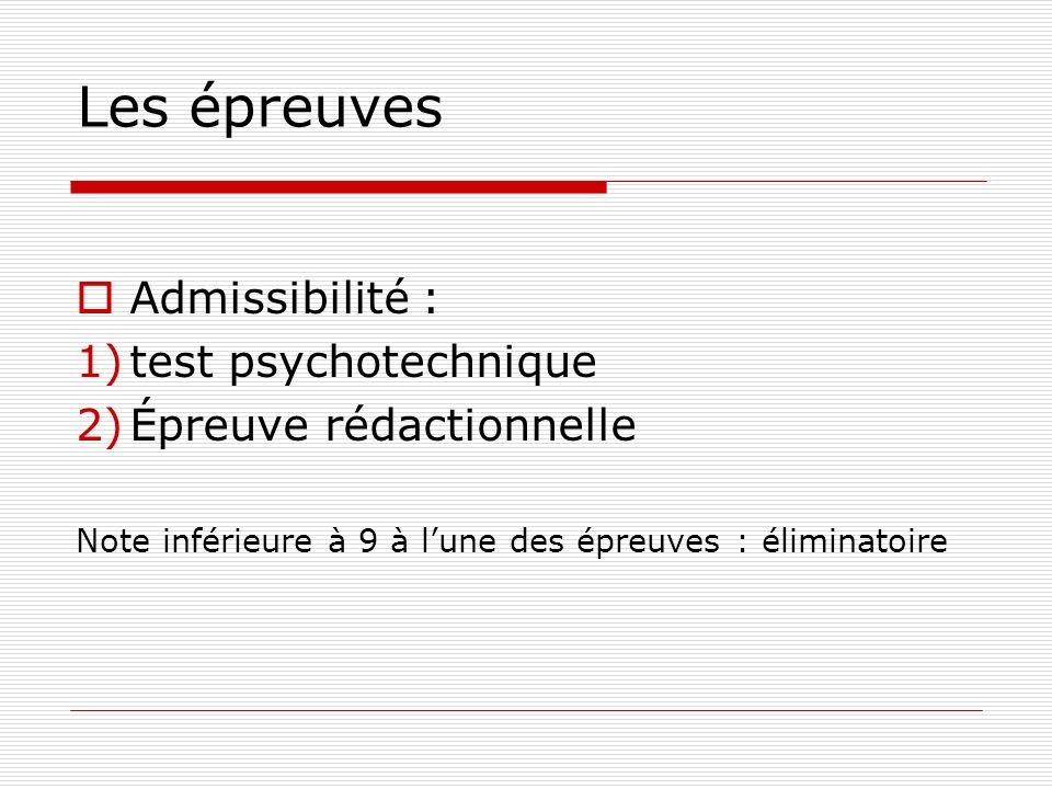 Les épreuves Admissibilité : test psychotechnique