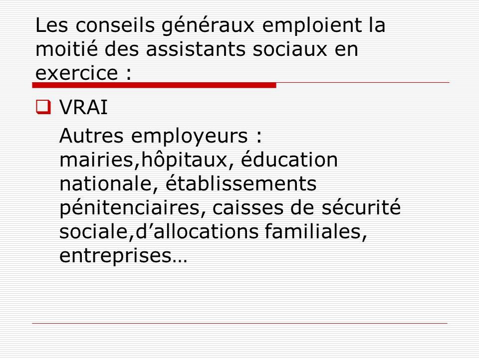 Les conseils généraux emploient la moitié des assistants sociaux en exercice :