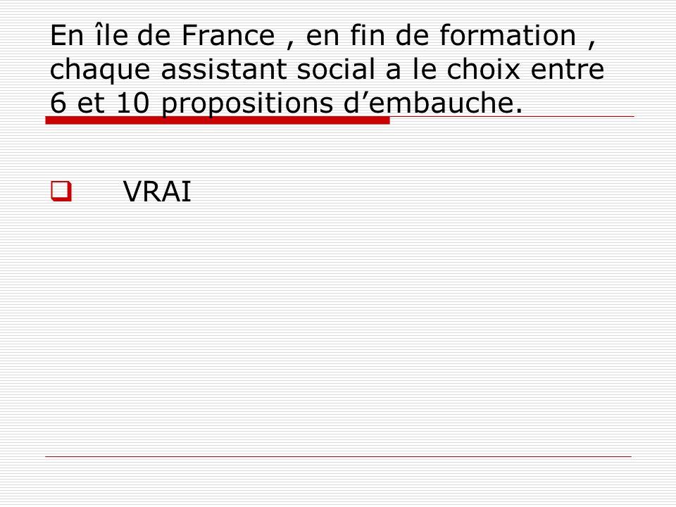 En île de France , en fin de formation , chaque assistant social a le choix entre 6 et 10 propositions d'embauche.