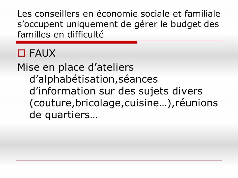 Les conseillers en économie sociale et familiale s'occupent uniquement de gérer le budget des familles en difficulté