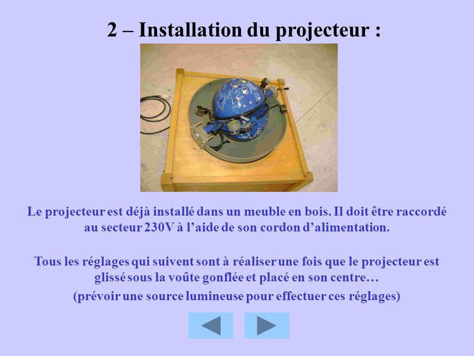 2 – Installation du projecteur :