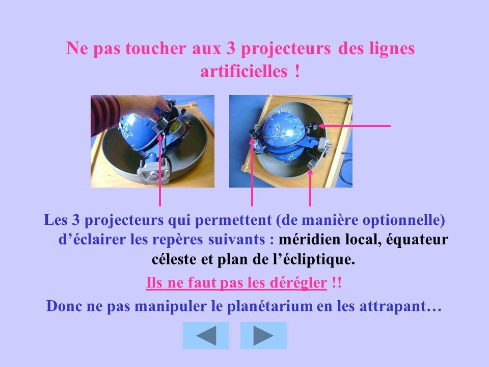 Ne pas toucher aux 3 projecteurs des lignes artificielles !
