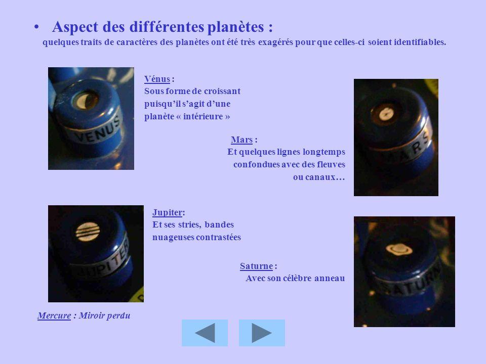 Aspect des différentes planètes :