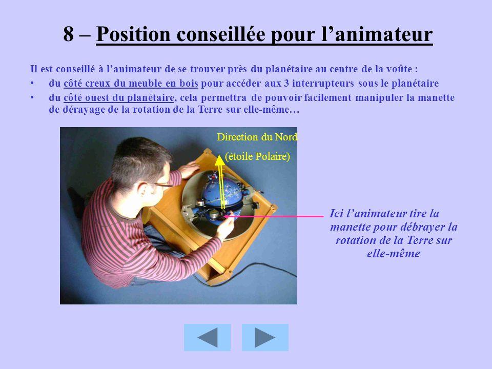8 – Position conseillée pour l'animateur