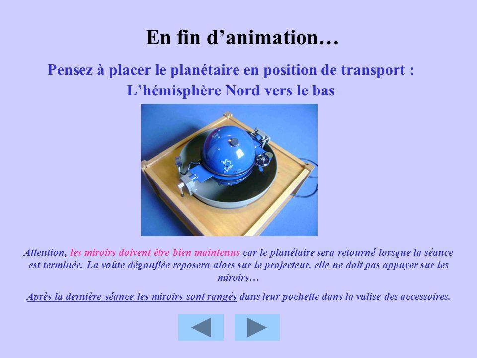 En fin d'animation… Pensez à placer le planétaire en position de transport : L'hémisphère Nord vers le bas.