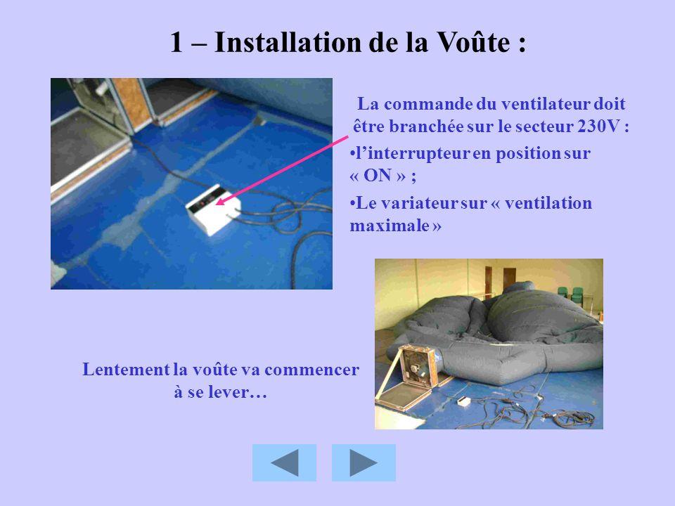 1 – Installation de la Voûte :