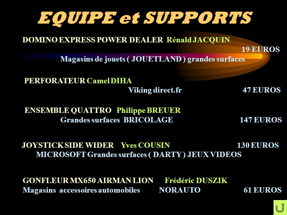EQUIPE et SUPPORTS DOMINO EXPRESS POWER DEALER Rénald JACQUIN 19 EUROS