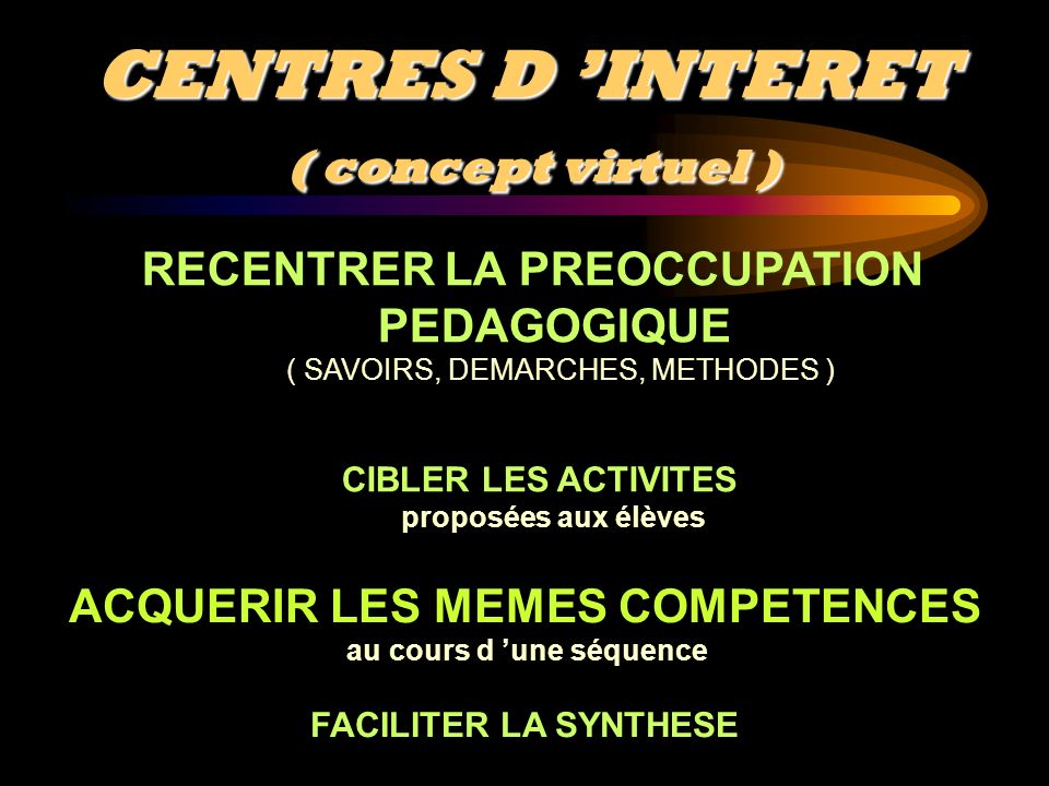CENTRES D 'INTERET ( concept virtuel )