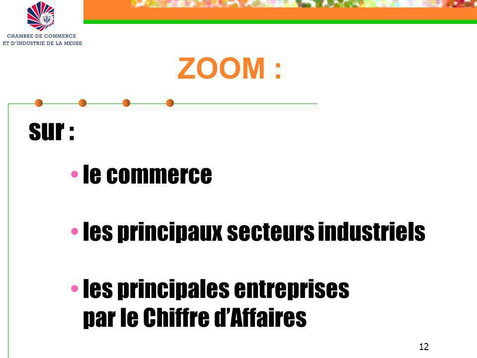 ZOOM : sur : le commerce les principaux secteurs industriels