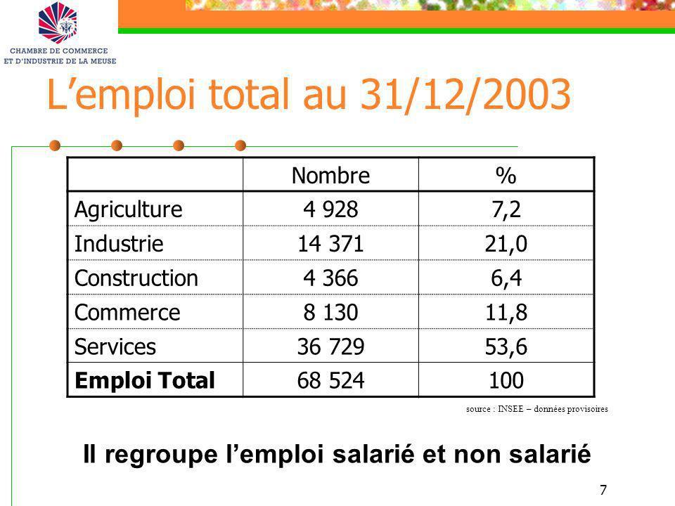 Il regroupe l'emploi salarié et non salarié
